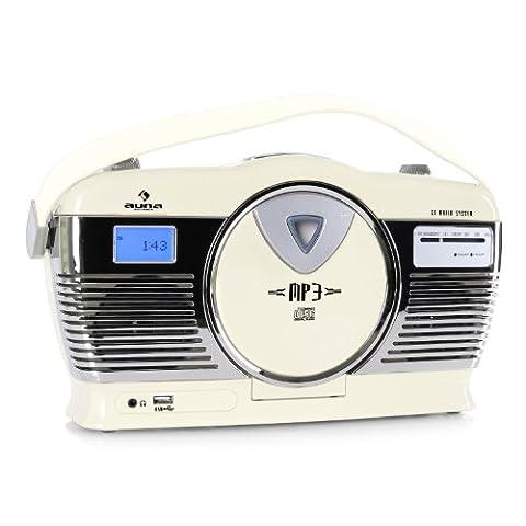 auna RCD-70 Radio Retroradio CD Radio Kofferradio (UKW-Radioempfänger, CD-Player mit MP3-CD Unterstützung, USB-Interface für MP3 Dateien, LCD-Display, Batteriebetrieb möglich) creme
