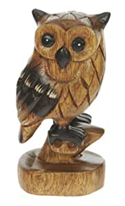 Hand Carved Wood - Owl on Perch : Top Christmas Gift Idea : High Quality Traditional Wooden Xmas Present For Children, Adults or Animal Lovers!