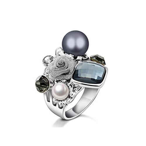 AZUO Vintage Fashion Inlay Pearl Zircon Ring Vintage Black Wedding Cluster Cocktail Ring Broadband Female,17mm