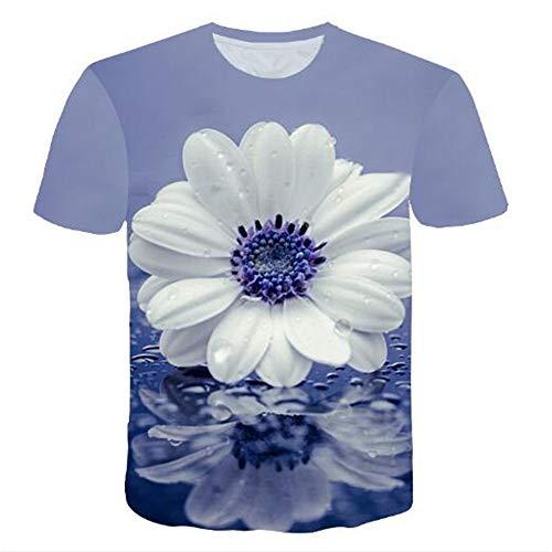 hirts für den Sommer Vintage und Urlaub Lässige Neuheit Cool Travel T-Shirt mit kurzen Ärmeln,3D Blume blau L ()