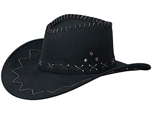 Western Kostüm Country Damen - Alsino Cowboyhut Westernhut in One Size Größe aus Polyester, Schwarz (06)
