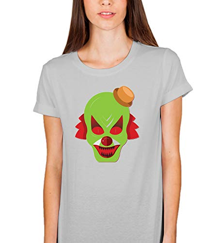 Halloween Scary Clowns Monsters_006240 Tshirt T Shirt Women's Ladies Present for Her LG Grey T-Shirt