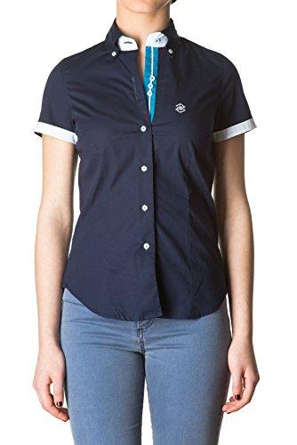 Di Prego - Chemise manches courtes à manches welt - Femme Bleu Marine