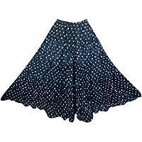 Mogul Interior Bohemian Long Skirt Black Printed Tiered A-Line Boho Peasant Maxi Skirt
