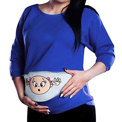 LSAltd Damen Schwangerschaft Tops Baby Spähen Mutterschaft Sweatshirt Lustige Zip Schwangerschaft Mutter Pullover Tops T-Shirt Plus Größe S-5XL Heißer