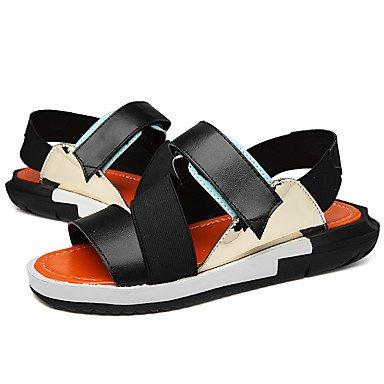 Herren Sandalen Sommer Comfort Light Sohlen Microfaser Leder Outdoor Casual flachem Absatz Magic Tape Wasser Schuhe Orange