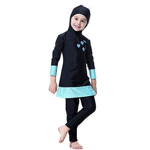 eanzug UV Badebekleidung Muslimische Schwimmen Kostüme Kinder Modest Islamischen Hijab Badeanzüge Burkini Langarm Sonnenschutz Swimsuits Tauchanzüge In voller Länge Badeanzüge Gedruckt Top mit Hijab + Pants (In Voller Länge Schwimmen Kostüme)