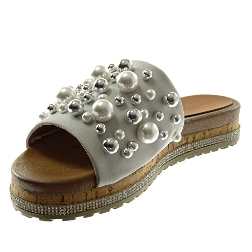 Angkorly Chaussures Mode Sandales Mules Slip-on Wedges Femme Perle Strass Bijoux Wedge Talon 3.5cm Gris