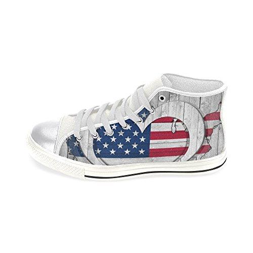 InterestPrint jc-Dress High Top Canvas Schuhe American Flagge Karte, Frauen Leinwand Lace Up Sneaker (Modell 017), Damen, Multi Color - American Leinwand