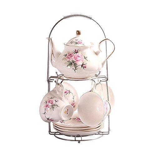 9 Stück Europäischen Klassische Keramik Service Kaffee Set Mit Metall Ständer, Rosa Vintage Kamelie Druck Teeservice, Für Geschenk Und Haushalt, Büro, Hochzeit -