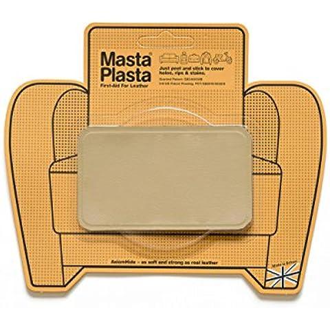 Beige MastaPlasta autoadesiva in pelle riparazione Patch. Taglia A scelta/Design. Pronto soccorso per divani, sedili auto, borse, giacche, ecc., Beige, BEIGE SUPER-PLAIN 10cmx6cm