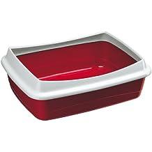 Feplast 72041099W1 Bandeja Sanitaria Abierta para Gatos Nip 10 Plus Caja de Arena para Gatos, Marco de Contención Extraíble, 47 x 36 x 15.5 Cm Burdeos