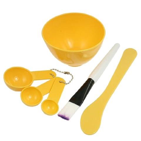 sourcingmap® femme cosmétique 4 en 1 bol masque facial brosse bâton cuillère jaune