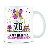 Tazza di caffè, 76TH Birthday design per uomini e donne festa di compleanno personalizzabile Age 76Birthday Gift ceramica Coffee Cup, 311,8gram, bianco