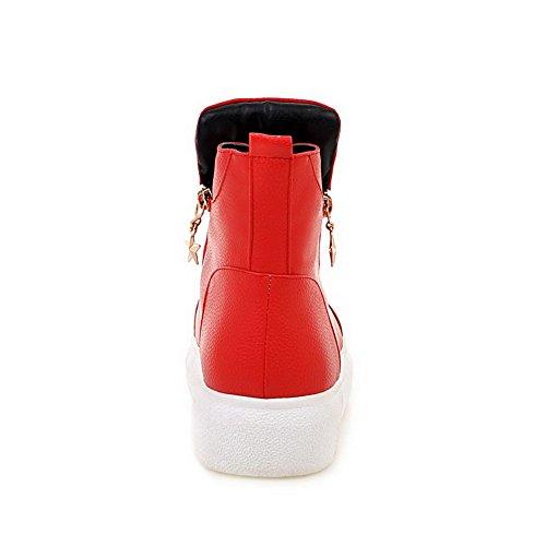AgooLar Damen Gemischte Farbe Niedriger Absatz Reißverschluss Rund Zehe Stiefel Rot