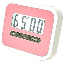 Haodou Temporizador de cocina digital Imán digital Temporizador de cocina Reloj de cuenta atrás con pantalla LCD grande y alarma fuerte (Rosa)