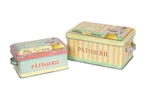 Lot de 2 boîtes style rétro vintage boîtes de conservation