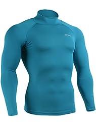 emFraa Homme Femme Sport Compression Base layer Mock neck Shirt Long sleeve S~XL