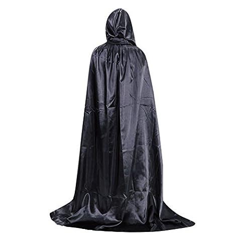 LAEMILIA Déguisement Unisexe Adultes Homme Femme Cape à Capuche Halloween Toussaint Party Soirée Noël Cosplay Costume Vampire (Noir)