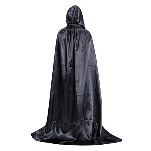 Kostüme Satin Kapuzen (LAEMILIA Damen Herren Umhang Schwarz Tod Satin Karneval Halloween Kostüm Cape mit Kapuze Mehrfabig)
