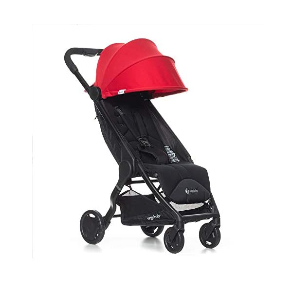 Ergobaby Metro Lightweight Buggy Stroller Pushchair with Sun-Shade Canopy One Hand Foldable, 6 Months to 18 kg Toddler (Red) Ergobaby A stroller that knows no limits. The Ergobaby Metro Strollers are ultra compact and fits effortlessly into small car boots and most aeroplane luggage compartments. An ideal baby and infant travel system. Baby comfort without compromise - soft, comfortable Stroller packed with plush, cushy padding that supports baby's head, back, bottom and legs . Advanced multi-zone support, and an adjustable footrest give your baby a comfortable seat. The gentle suspension and the shock absorbing PU tyres effortlessly tackle challenges such as kerbs, cobblestones and paving stones. Padded handle and strap. Storage tray for bags and shopping. 1