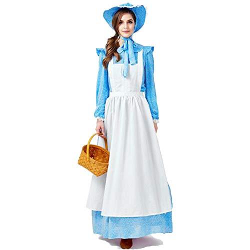 Suncaya Halloween Womens Lolita Maid Prinzessin Landmädchen Kleid Outfits Cosplay Kostüm Blau