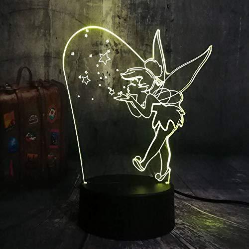 Led Lichterkette Nacht 3D Illusion Usb Touch Sensor Dekorative Lampe Kind Kinder Geschenk Schlafzimmer Tisch 3D Lampe Prinzessin Basteln Glocke (Schlafzimmer Ihr Basteln Halloween Für)