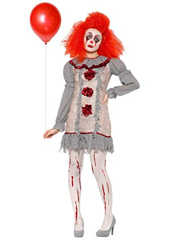Smiffys 47564S Vintage Clown-Kostüm, Damen, Grau & Rot, S-UK Größe 08-10 (Halloween Make-up Ideen, Hals)