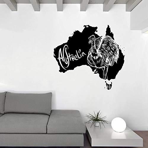 jiuyaomai Mohn Name Wandaufkleber Octonauts Australian Symbol Map Australien Strauß Tiere Mädchen Zimmer Schlafzimmer Wohnzimmer Dekoration Vinyl DIY Wandaufkleber57X63Cm