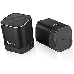 Enceinte Bluetooth Portable AT1, Enceintes sans Fil Doubles AURTEC avec Technologie True Wireless Stereo, Basses puissantes et Volume Puissant, Bluetooth 4.2 pour Echo, iOS, Android et Plus