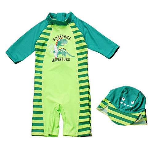 Enfants Garçons Combinaison de Natation Maillot de Bain de Plongée Protection Anti-UV et Contre le soleil SPF50+ avec Bonnet de Bain