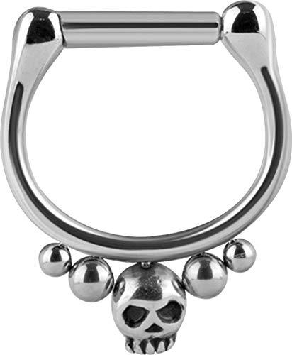 eeddoo® SEPTUM-NASENPIERCING CLICKER-RING aus EDELSTAHL mit Totenkopf Kugel Design (6)