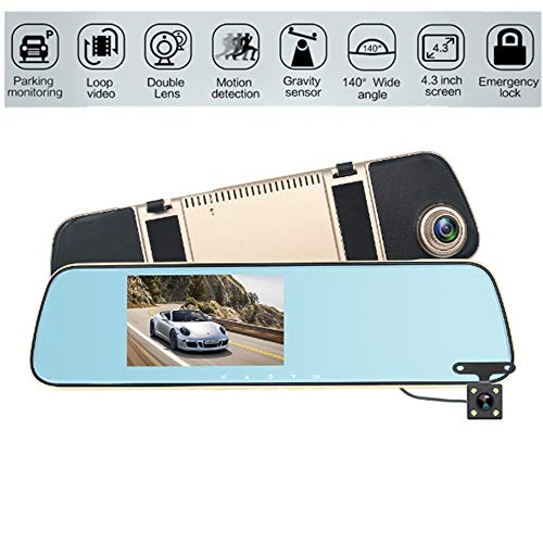 Mirror Dash Cam 4.3 Inch Touch Screen, 1080P Full HD Rear View Backup Camera Dual Lens mit Parking Monitor G-Sensor Loop Recording Reverse Camera