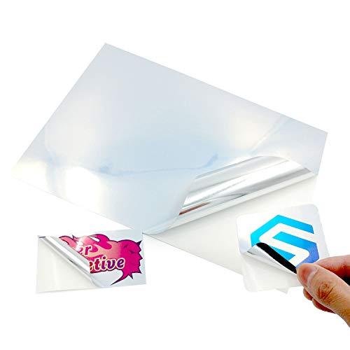 100 fogli A4 lucidi autoadesivi in vinile color argento metallizzato, impermeabile, con retro adesivo, stampa laser e a getto d'inchiostro, stampa ad alta risoluzione