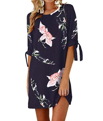 Ajpguot Sommerkleid Damen T-Shirt Kleid Rundhals Kurzarm Minikleid Blumen Strandkleider Langes Shirt Lose Tunika mit Bowknot Ärmeln (0882Marineblau, XL)