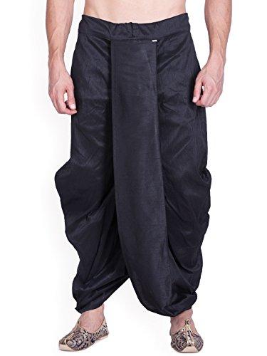 Royal Kurta Men's Silk Blend Solid Dhoti (Black) - Dhoti Kurta
