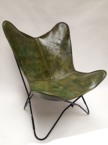 Vintage Sessel Butterfly Loungesessel Leder Grün