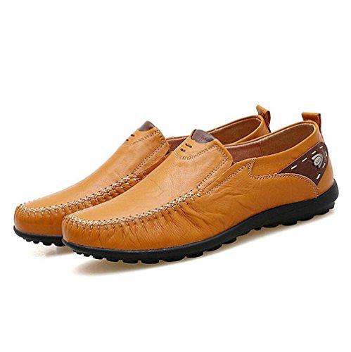 WYWQ Autunno inverno piselli a tacco basso scarpe uomo in vera pelle 2017 nuove scarpe casual fondo morbido scarpe in pelle scarpe pigre Dimensioni 45 46 47 yellow brown