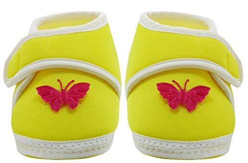 Neska Moda Baby Boys & Girls Butterfly Yellow Booties For 0 To 12 Months Infants