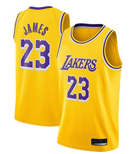 CRBsports Lebron James, Le Basket Jersey, Lakers, Nouveau Tissu Brodé, Style Sportswear (Jaune, M)
