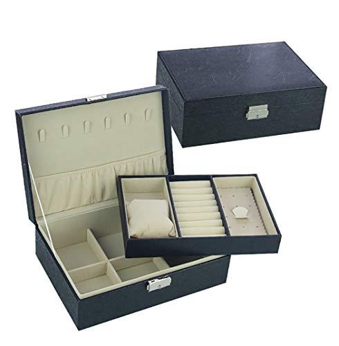 YGUOZ Schmuckaufbewahrung mit Abnehmbar Fächer, Schmuck Box 2 Ebenen Abschließbar, Schmuckkasten Kann Uhren und Brillen ablegen,Black