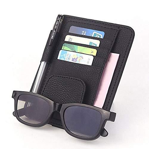 Auto CD/DVD-Halter Disc PU-Leder Storage Fall Sonnenbrille Organizer Sonnenblende Sonnenschutz Hülle Wallet Clips,Black