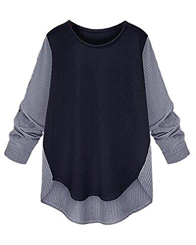 Donna Maglie Manica Lunga Girocollo Allentato T-shirt Top Casual Blusa Camicetta Marina Militare