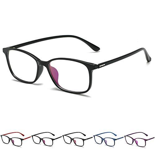 KOOSUFA Blaulichtfilter Brillen Ultra Licht TR90 Brillengestelle Anti Blaulicht Brillen Ohne Sehstärke Federscharnier Damen Herren Computer Gaming Brillen Anti Müdigkeit mit Etui (Matt schwarz)