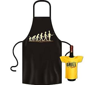 Coole Koch - Grillschürze mit Gratis Minishirt als Geschenk - Evolution zum Koch