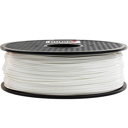 Pulox 3D Drucker Filament Rolle 1kg passend für MakerBot RepRap MakerGear Ultimaker uvm. (PLA 1.75, Weiß)