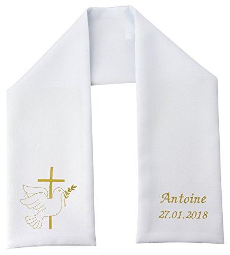 Boutique Magique Etole Echarpe de Baptême Personnalisée et Brodée (S, Blanc)