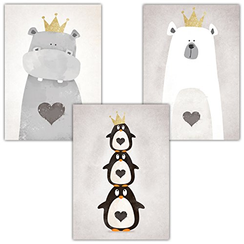 Frechdax® 3er Set Poster DIN A3 ohne Bilderrahmen | Mädchen Junge | Kinderposter Bilder für Kinderzimmer Babyzimmer | Tiermotive Tiere (3er Set Krone, Pinguin, Nilpferd, Bär)
