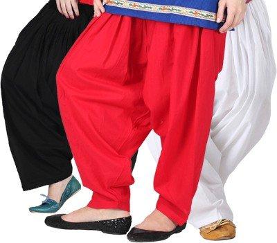 Pistaa\'S Women\'s Cotton Patiala Salwar Combo (ACPSBLKREDMW_Black, Red and White_Free Size)