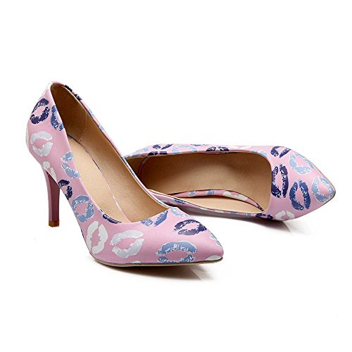 VogueZone009 Femme Pointu à Talon Haut Couleurs Mélangées Tire Chaussures Légeres Violet